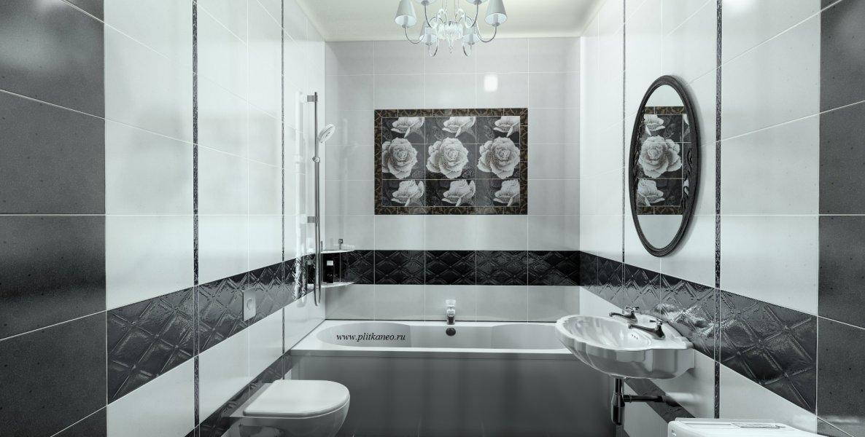Интерьер ванной с плиткой монро